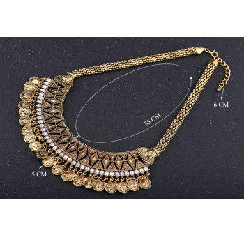 Vintage Tassel Triangle Rhombus Coin Necklace For Women - GOLDEN