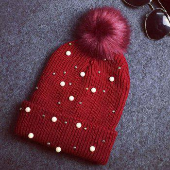 Chic Faux Pearl Bead Small Ball Embellished Women's Knitted Beanie -  COLOR ASSORTED