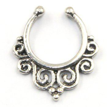 Buy Stylish Solid Color Fake Septum Nose Ring Women SILVER