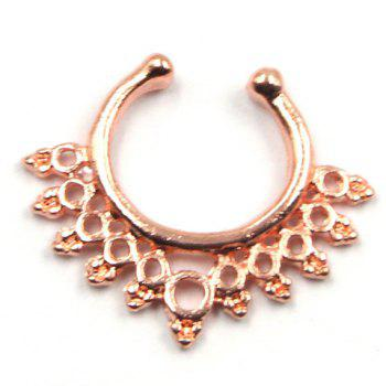 Stylish Solid Color Hollow Out Round U-Shaped Fake Septum Nose Ring For Women