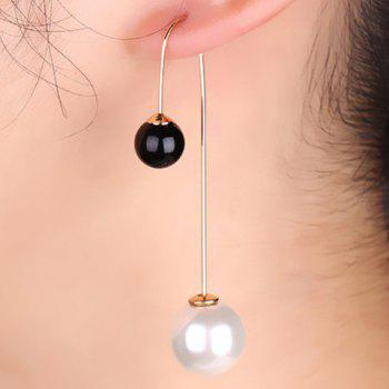Pair of Round Faux Pearl Earrings
