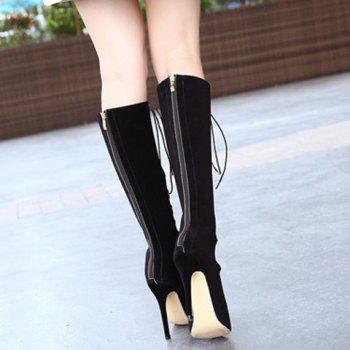 Sexy Criss-Cross and Peep Toe Design High Heel Boots For Women - BLACK 37