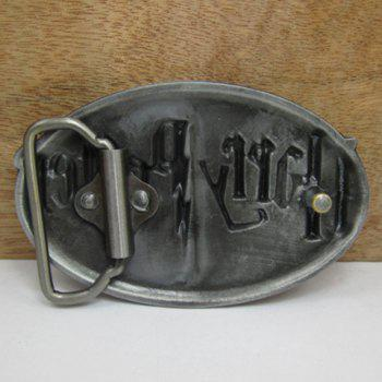 Stylish Gothic Letters Shape Embellished Men's Ellipse Belt Buckle - AS THE PICTURE