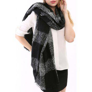 Chic Latticed Pattern Fringed Edge Women's Knitted Scarf