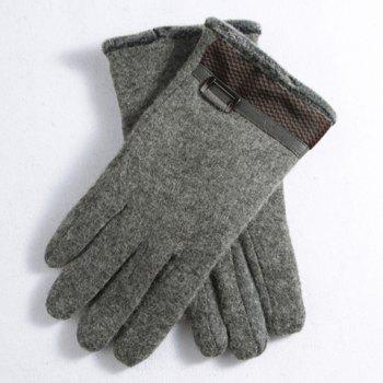 Pair of Stylish Hollow Alloy and Faux Fur Embellished Men's Felt Gloves