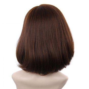 Nobby Medium Middle Part Shaggy Brown Ombre Capless Straight Tail Adduction Synthetic Women's Wig - OMBRE 2