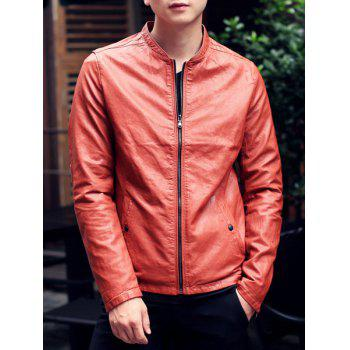 Stand Collar Solid Color Long Sleeve Button Embellished Men's PU-Leather Jacket