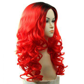 Attractive Shaggy Wavy Black Ombre Red Capless Long Middle Part Synthetic Wig For Women - OMBRE