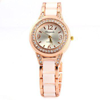Chaoyada Female Diamond Quartz Watch Steel + Plastic Strap - WHITE