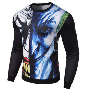 Hot Sale 3D Abstract Funny Face Rib Hem Slimming Round Neck Long Sleeves Men's Sweatshirt - COLORMIX M