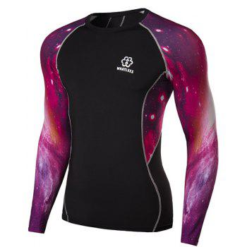 Outdoor Necessary Round Neck Hit Color 3D Starry Sky Spliced Long Sleeves Men's Sweat Dry Tight T-Shirt - BLACK M