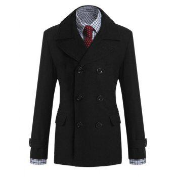 Elegant Fake Belt Patch Pocket Turn-down Collar Long Sleeves Slimming Men's Woole Blend Peacoat