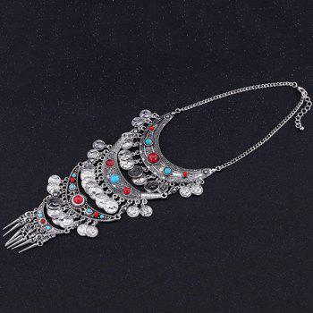 Vintage Pointed Cone Rivet Coin Layered Tassel Necklace For Women - SILVER