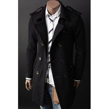 Hot Sale Turn-down Collar Multi-Button Elegant Belt Epaulet Design Slimming Long Sleeves Men's Peacoat