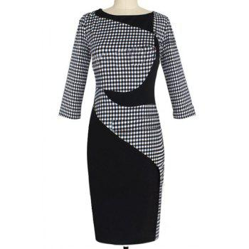 Noble Scoop Collar 3/4 Sleeve Gingham Spliced Women's Bodycon Dress