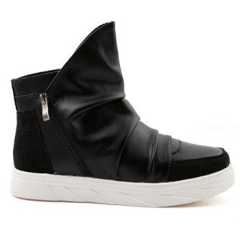 Casual Solid Color and Zipper Design Boots For Men - BLACK 44