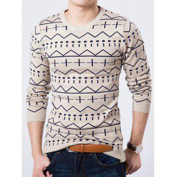 Round Neck Geometric Pattern Long Sleeve Slimming Men's Sweater