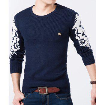 Round Neck Color Block Printed Long Sleeve Slimming Men's Sweater