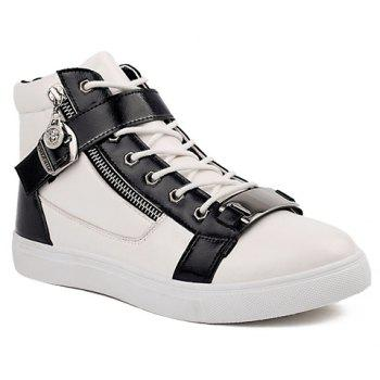 Trendy Buckle and Metal Design Casual Shoes For Men - WHITE 42