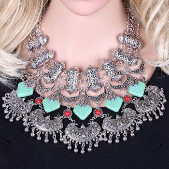 Exquisite Square Shape Turquoise Engraved Flower Tassel Necklace For Women