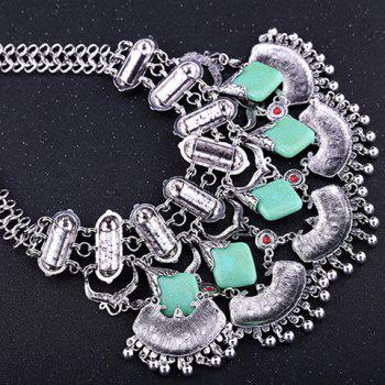 Exquisite Square Shape Turquoise Engraved Flower Tassel Necklace For Women - SILVER