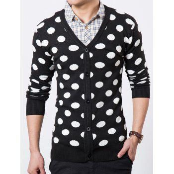 V-Neck Polka Dot Pattern Long Sleeve Slimming Men's Cardigan