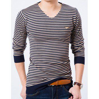 V-Neck Stripe Pattern Rib Splicing Long Sleeve Slimming Men's Sweater