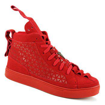 Stylish Geometric Print and Suede Design Casual Shoes For Men - RED 39