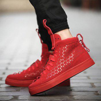 Stylish Geometric Print and Suede Design Casual Shoes For Men - RED RED