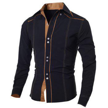 Fashion Color Block Sutures Design Shirt Collar Long Sleeve Slimming Men's Polyester Shirt - BLACK BLACK