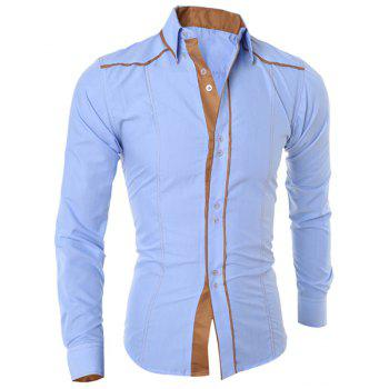 Fashion Color Block Sutures Design Shirt Collar Long Sleeve Slimming Men's Polyester Shirt - LIGHT BLUE LIGHT BLUE