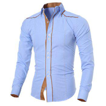 Fashion Color Block Sutures Design Shirt Collar Long Sleeve Slimming Men's Polyester Shirt - LIGHT BLUE XL