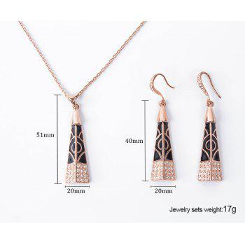 Rhinestoned Pyramid Pendant Necklace and Earrings - ROSE GOLD