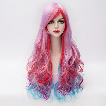 Colorful Gradient Towheaded Wave Inclined Bang Long Synthetic Trendy Capless Women's Costume Wig - COLORMIX