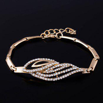 A Suit of Rhinestone Hollow Out Leaf Necklace Bracelet Earrings and Ring - GOLDEN