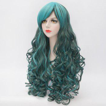 Heat Resistant Synthetic Fluffy Curly Stunning Highlight Long Cosplay Side Bang Capless Wig For Women - COLORMIX