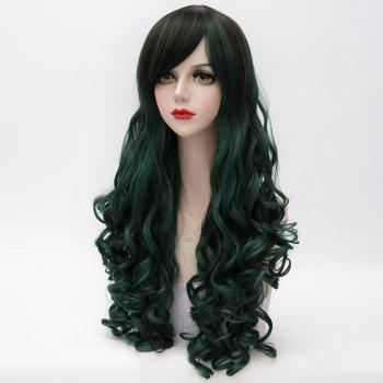 Vogue Synthetic Shaggy Long Capless Curly Side Bang Black Mixed Blackish Green Women's Cosplay Wig - COLORMIX