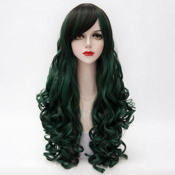 Vogue Synthetic Shaggy Long Capless Curly Side Bang Black Mixed Blackish Green Women's Cosplay Wig