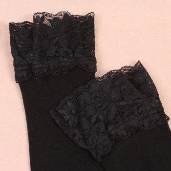 Pair of Chic Lace Edge Black Women's Knitted Stockings -  BLACK