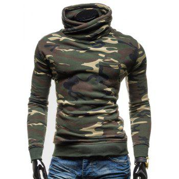 Camo Special High Collar One Patch Pocket Rib Spliced Long Sleeves Men's Slim Fit Sweatshirt