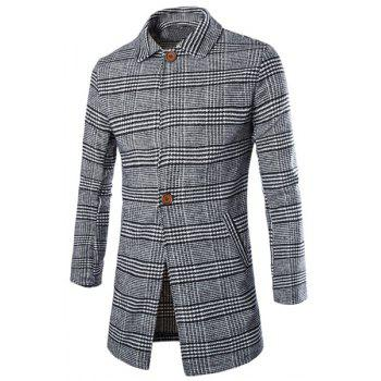 Hit Color Plaid Patch Pocket Slimming Lapel Long Sleeves Woolen Blend Men's Single-Breasted Coat