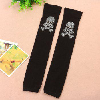 Pair of Chic Rhinestone Skull Shape Embellished Women's Black Knitted Leg Warmers -  BLACK