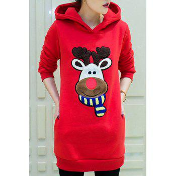 Cute Long Sleeve Hooded Cartoon Print Women's Hoodie