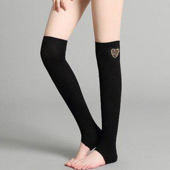 Pair of Chic Hollow Out Heart Shape Embellished Women's Knitted Leg Warmers - BLACK BLACK