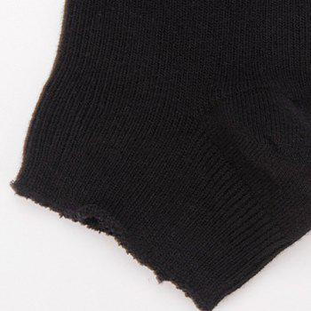 Pair of Chic Hollow Out Heart Shape Embellished Women's Knitted Leg Warmers - BLACK