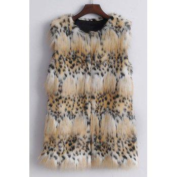 Stylish Round Neck Sleeveless Leopard Pattern Faux Fur Women's Waistcoat