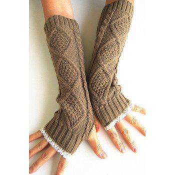 Pair of Chic Rhombus and Lace Edge Embellished Women's Knitted Fingerless Gloves