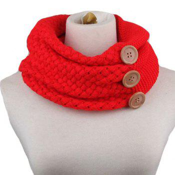 Chic Big Buttons Embellished Women's Knitted Neck Warmer