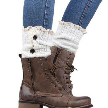 Pair of Chic Buttons and Lace Embellished Women's Knitted Leg Warmers