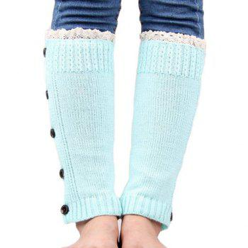 Pair of Chic Buttons and Lace Embellished Women's Knitted Leg Warmers -  COLOR ASSORTED